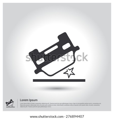 car accident insurance Icon . Flat pictograph Icon design gray background. Vector illustration. - stock vector