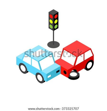 Car accident traffic light isometric.Vector illustration. EPS 10. No transparency. No gradients. - stock vector