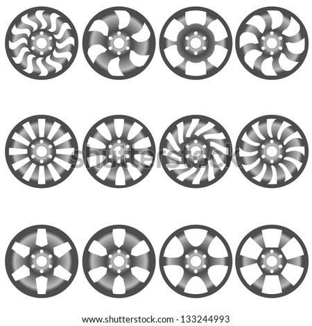 Car  alloy wheels, vector illustration - stock vector