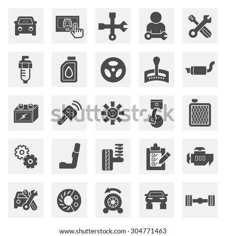 Car and mechanic vector icon sets. - stock vector
