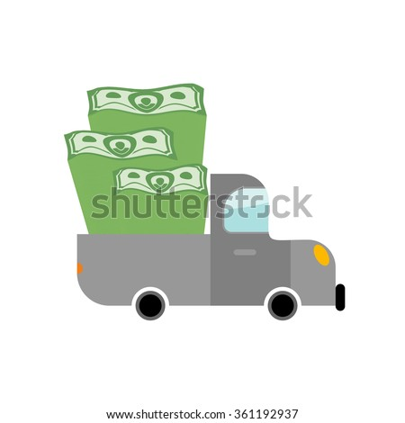 Car and money. Pile of dollars in trunk of your truck. Machine carries stack of cash dollars. Transport Scrooge. Car for lucky winner.  - stock vector