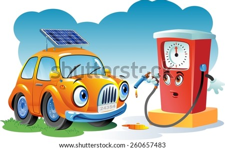 Car at a gas station - stock vector