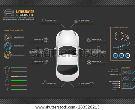 Car auto service infographics design.vector - stock vector