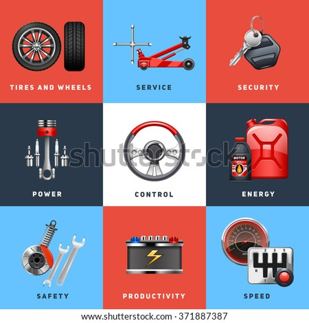 Car auto service safety control for trucks and cargo vehicles equipment flat icons set abstract isolated vector illustration - stock vector