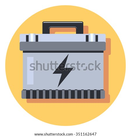 car battery circle icon with shadow - stock vector