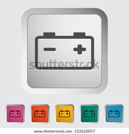Car battery. Single icon. Vector illustration. - stock vector