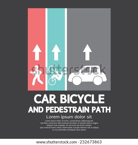 Car, Bicycle and Pedestrian Path Vector Illustration - stock vector