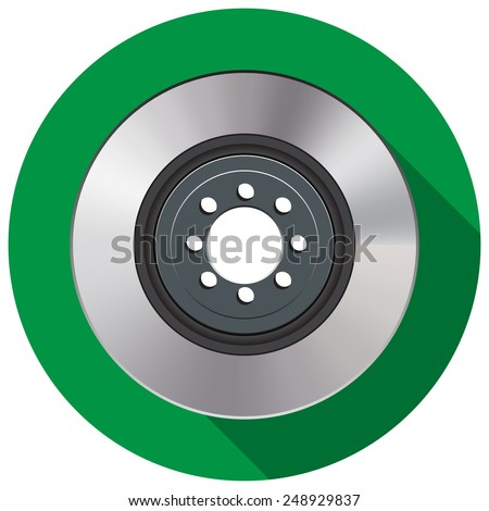Car brake disc in a flat on a green background - stock vector