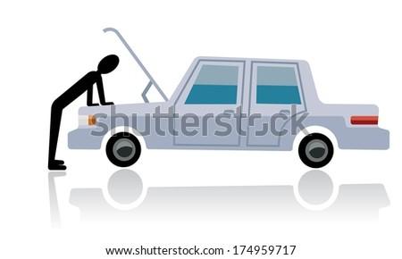 car breakdown, man looking at broken car  - stock vector