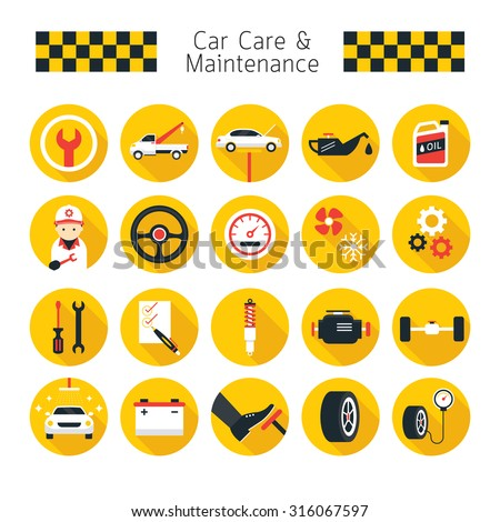 Car Care and Maintenance Objects icons Set, Flat Design, Vehicle Mechanical, Garage Service - stock vector