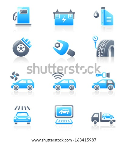 Car care, tuning, repair, and more service icons in blue-gray - stock vector