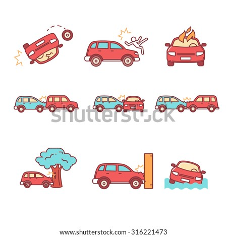 Car crash and accidents. Thin line icons set. Flat style color vector symbols isolated on white. - stock vector