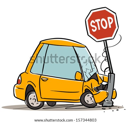 Car crash in stop sign. cartoon illustration isolated on white - stock vector