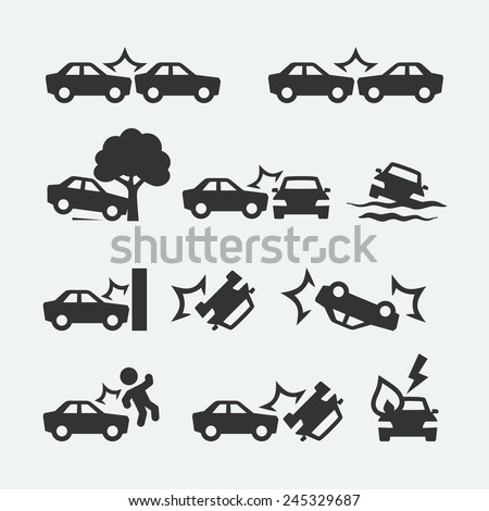 Car crash related icon set - stock vector