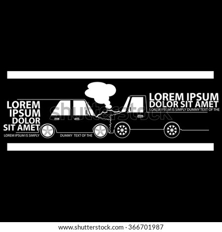 Car crash with a truck banner on a blackboard. In vector  - stock vector