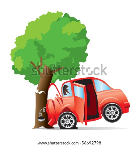 car crashed into tree - stock vector