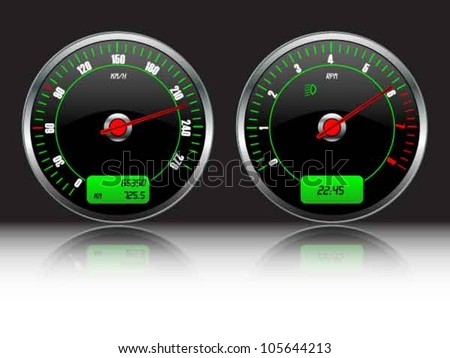 Car dashboard  gauges - stock vector