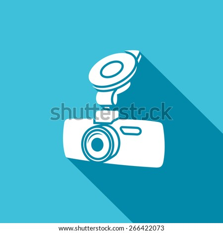 Car digital video recorder vector icon - white car DVR symbol. Vector Illustration. - stock vector