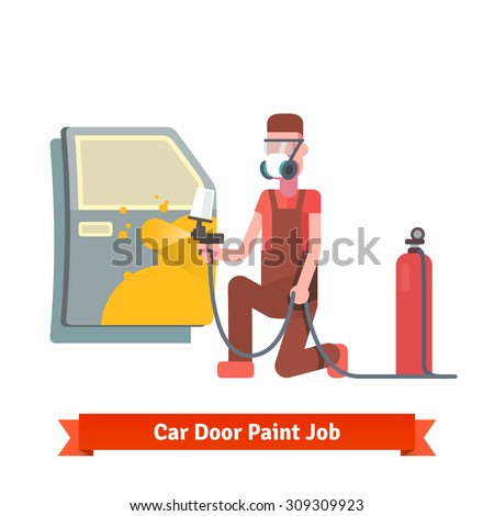 Car door paint job. Specialist painting door at the car collision repair shop. Flat style vector illustration isolated on white background. - stock vector