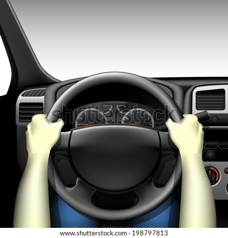 Car driver - car interior with dashboard and hands of driver, made with gradient mesh - stock vector