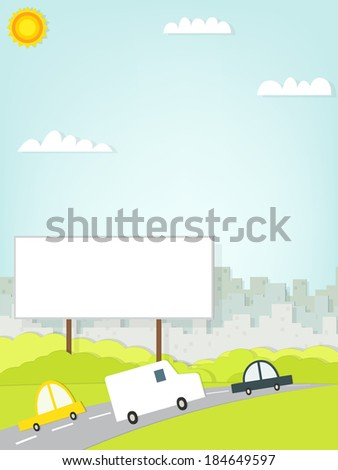 car driving on road near the billboard - stock vector