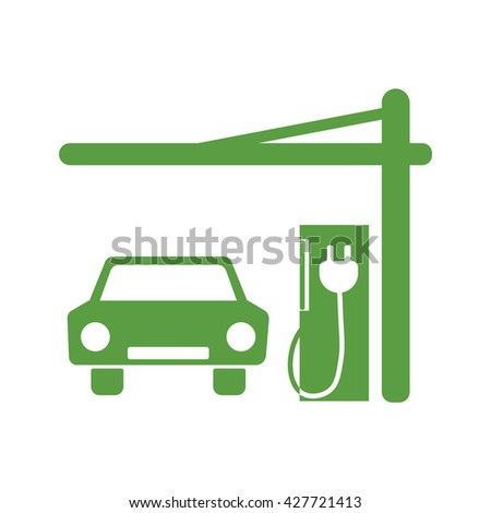 car, eco petrol, ecology green icons set on white background - stock vector