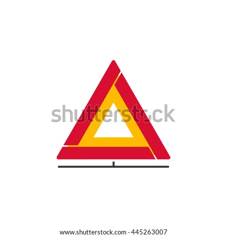 Car emergency sign vector icon, folding emergency safety warning triangle isolated on white background - stock vector