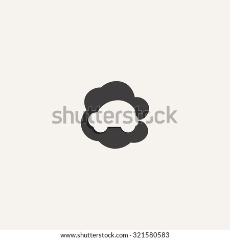 car emits carbon dioxide. flat icon. creative idea concept templ - stock vector