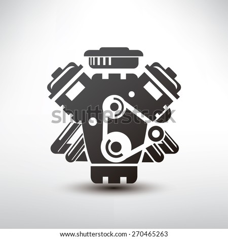 car engine symbol, stylized vector silhouette of automobile motor - stock vector
