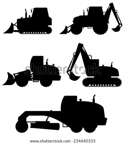car equipment for construction work black silhouette vector illustration isolated on white background - stock vector