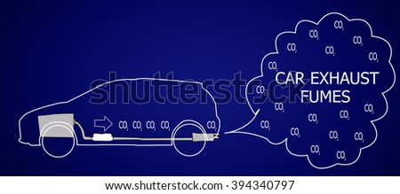 car exhaust fumes come from lined car on dark blue background - stock vector