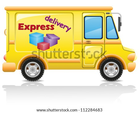 car express delivery of mail and parcels vector illustration isolated on white background - stock vector
