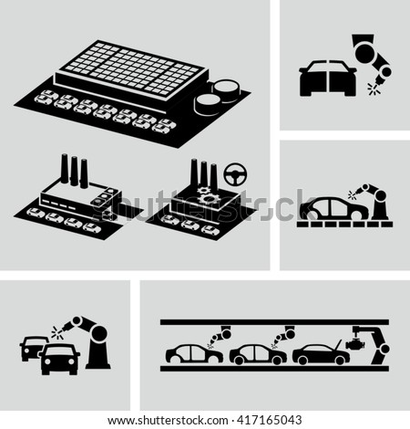 Car factory Icons  - stock vector
