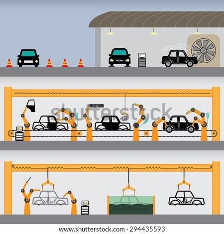 car factory simple graphic - stock vector