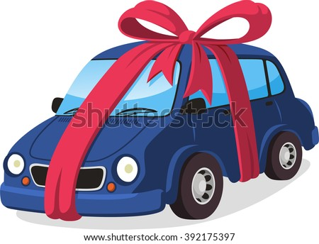car gift with ribbon cartoon illustration - stock vector
