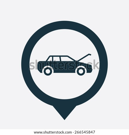 car hood icon map pin on white background  - stock vector