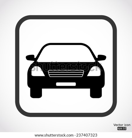 car icon - black vector illustration - stock vector