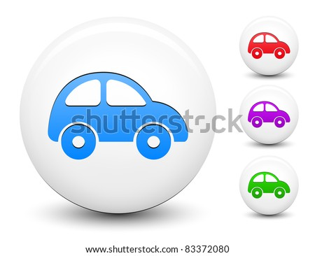 Car Icon on Round White Button Collection Original Illustration - stock vector