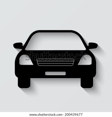 Car icon - vector illustration with shadow on light background - stock vector