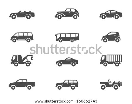 Car icons in black & white - stock vector