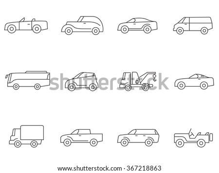 Car icons in outline style - stock vector