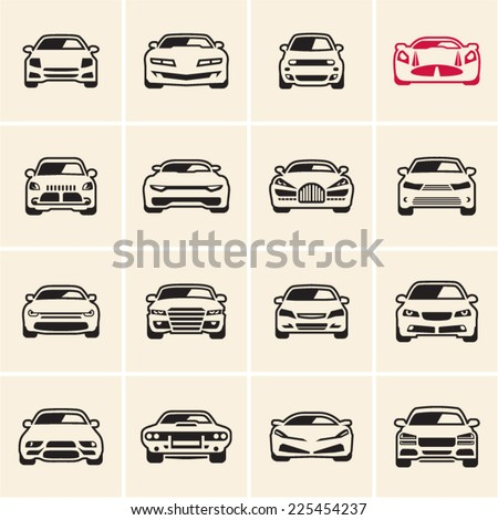 car icons outline - stock vector