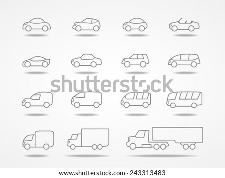 Car icons set - stock vector