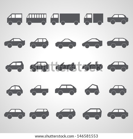 Car Icons Set - Isolated On Gray Background - Vector Illustration, Graphic Design Editable For Your Design.  - stock vector