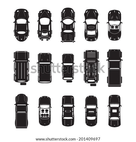Car icons top view  - stock vector