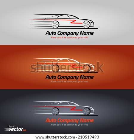 Car in the form of lines of silhouette, in movement. eps 8 - stock vector