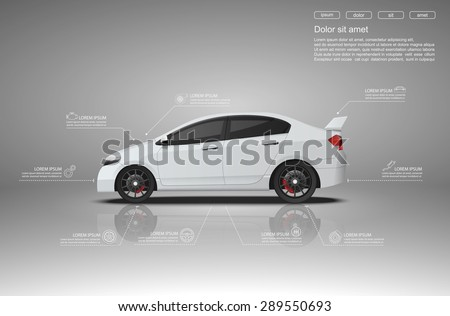 Car infographics design.vector - stock vector