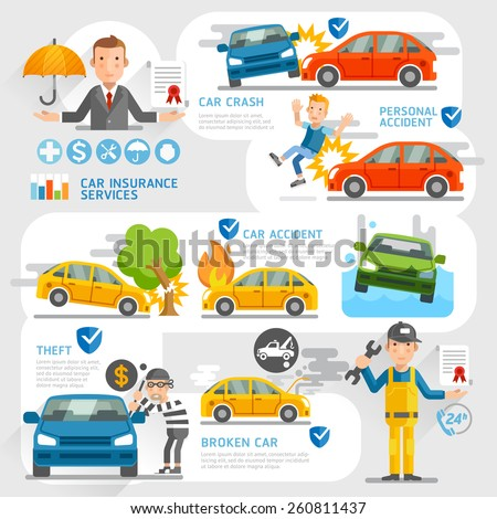 Car insurance business character and icons template. Vector illustration. Can be used for workflow layout, banner, diagram, number options, web design, timeline, infographics. - stock vector