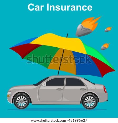 car insurance concept, umbrella with meteor, vector illustration  - stock vector