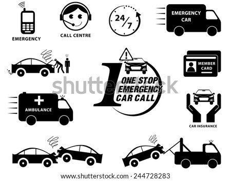 Car insurance icons set ( One Stop Emergency Call Car) illustration, easy to modify - stock vector
